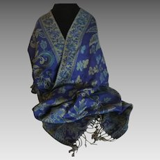 Vintage Cashmere Pashmina wrap or scarf in Navy and Olive