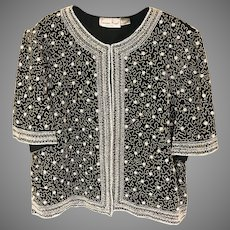 Vintage Silk Beaded Laurence Kazar Top SZ XXL