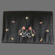 Vintage French Black Silk Tambour Embroidered Envelope Purse / Handbag