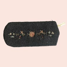 Vintage French Beaded and Tambour Embroidered Glasses Case