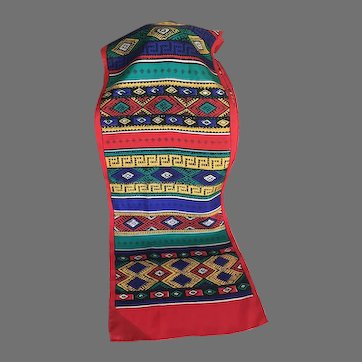 Vintage Brightly Colored Southwestern Design Silk Scarf