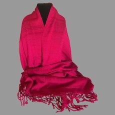 Vintage Scarlet Handwoven Wrap / Shawl / Scarf