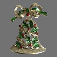 Vintage Christmas Bell Pin / Brooch By Gerrys