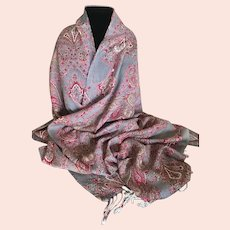 Spring Dove Gray and Pinks Pashmina Wrap / Shawl