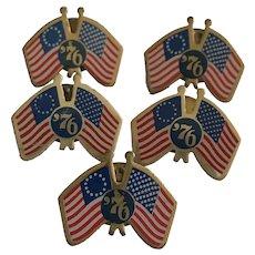 1776-1976 American Bicentennial Flag Pins 5 Made in USA