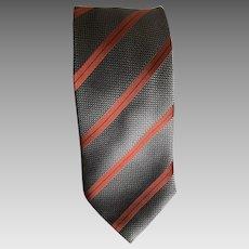 Vintage steel gray and rust Italian silk necktie