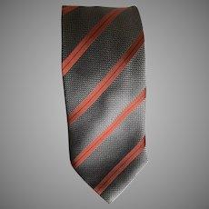 Vintage Silver Gray and Rust Italian Silk Necktie