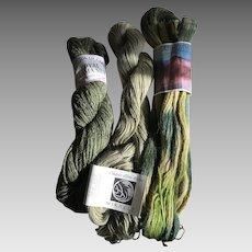 Three skeins of Alpaca and llama yarns