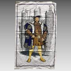 Vintage King Henry the Eighth cotton tea towel England