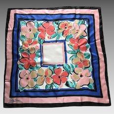 Vintage Oleg Cassini Flowered Silk Scarf