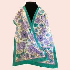 Vintage Italian Polyester Lavender and Turquoise Scarf