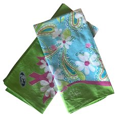 Lilly Pulitzer Pink, Blue, Green Breast Cancer Awareness Cotton Scarves / Bandanas