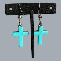 Vintage Simulated Turquoise Glass Earrings