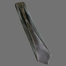 Vintage Art Deco Style Necktie in Gray, Black, and Gold