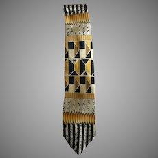 Cool Gold and Black Mid Century Modern Design Necktie