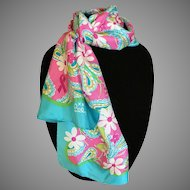 Lilly Pulitzer pink and blue breast cancer awareness silk scarf