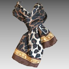 Vintage Animal Print Rectangular Silk Scarf