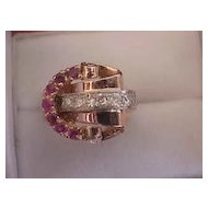 14K Rose Gold Retro Ruby & Diamond Ring