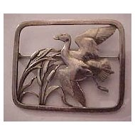 Rare Georg Jensen Sterling Silver Denmark Flying Duck Brooch