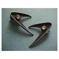 Ed Wiener Modernist Sterling Silver Boomerang earrings with Moonstones