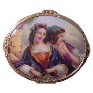 Large Antique Porcelain Hand Painted Brooch with Ornate 14K Gold and Metal Frame