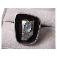 Ed Wiener Mid Century Modern Moonstone, Sterling Silver, Enamel Ring