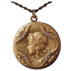 Outstanding Antique  Gold-Filled  Lady Locket with Rhinestones,  F & B Co.