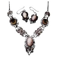 Ornate  Silver Colored Wire Shell Cameo Set with Cognac Colored Glass