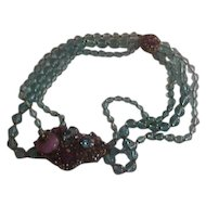 Rare Vintage  Miriam Haskell 3 Strand Choker with Turquoise Glass Beads