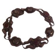 Early Georg Jensen 830 Silver GI Bracelet with Carnelians