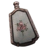 Webster Sterling Silver & Enamel Scent Perfume Flask with Roses
