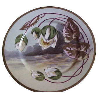 Limoges Coronet Nouveau Scenic and Floral Plate Artist Signed