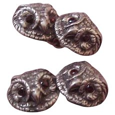 Vintage Vincent Simone  Sterling Silver Reposse Owl Cufflinks with Ruby Eyes