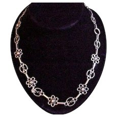 "Kalo Arts & Crafts Hand Wrought Sterling Silver 22"" Necklace"