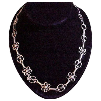 """Kalo Arts & Crafts Hand Wrought Sterling Silver 22"""" Necklace"""