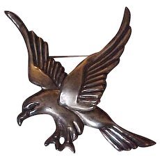 Giant Vintage  Mexican Sterling Silver  Eagle Brooch Pin