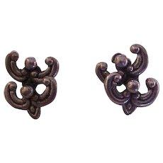 Vintage Los Castillo Sterling Silver Hinged Earrings