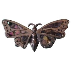 Vintage Taxco Sterling Silver and Abalone Butterfly Pin Brooch