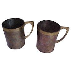 Vintage Mexico Copper & Brass Mugs, Cups I Ramirez