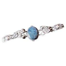 Ornate Cini Sterling Silver Bracelet with Large Blue Center  Stone