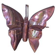 Vintage Mexican Abalone over Sterling Silver Layered Butterfly Brooch, Pin