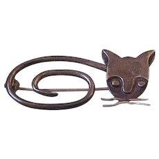 Taxco Sterling Silver  DelFino Cat Brooch Pin