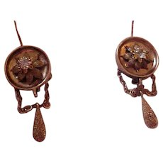 14K Victorian Drop Earrings with Tiny Aquamarines