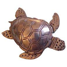 Vintage Emilia Castillo Sterling Silver Sea Turtle Brooch