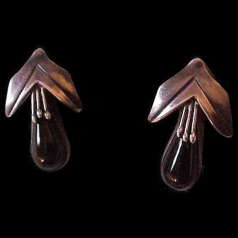Vintage Sterling Silver & Onyx Corn Husk Design Earrings