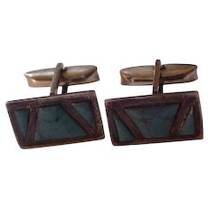 Vintage Taxco Turquoise & Sterling Silver Cufflinks