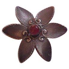 Carl Ruopoli Sterling Silver & Carnelian Flower Brooch Pin