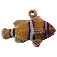 18K Gold & Enamel Kabana Clown Fish Charm