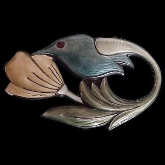 David Andersen Norway Sterling Silver & Enamel Hummingbird Brooch