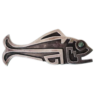 Vintage 1930's  Large   Fred Davis Silver Fish Brooch Pin